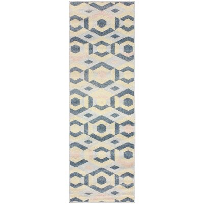 Ira Polygon Blue Area Rug Rug Size: Runner 28 x 8