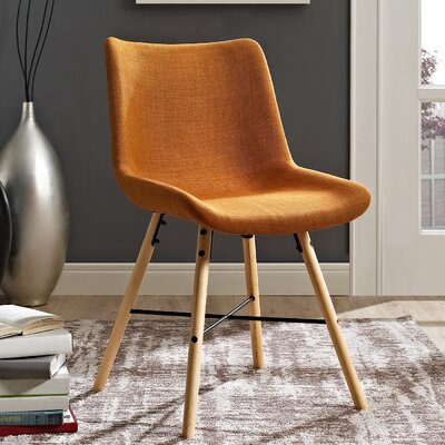 Vanwinkle Upholstered Linen Side Chair Upholstery: Orange