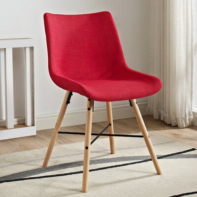 Vanwinkle Upholstered Linen Side Chair (Set of 2) Upholstery: Red