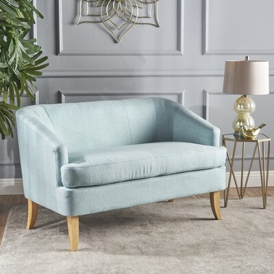Vanmatre Fabric Loveseat Upholstery: Light Blue