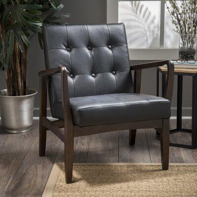 Cohocton Armchair Upholstery: Black Leather