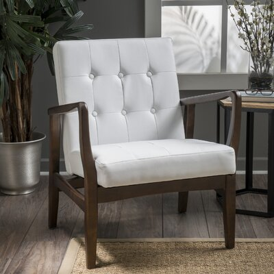 Cohocton Armchair Upholstery: White Leather
