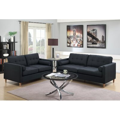 Venters 2 Piece Living Room Set Upholstery: Black