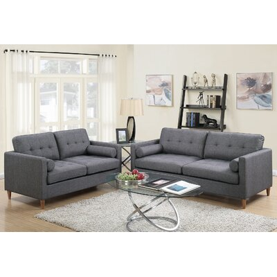 Venters 2 Piece Living Room Set Upholstery: Blue Gray