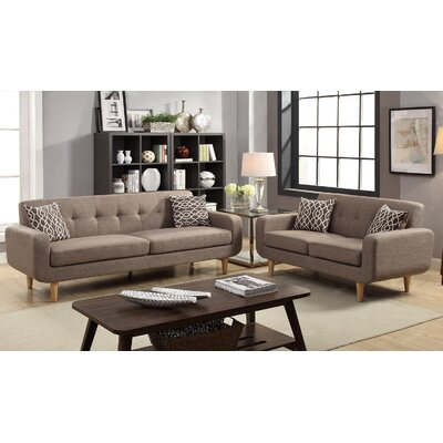 Venters Dorris Fabric 2 Piece Living Room Set Upholstery: Mocha