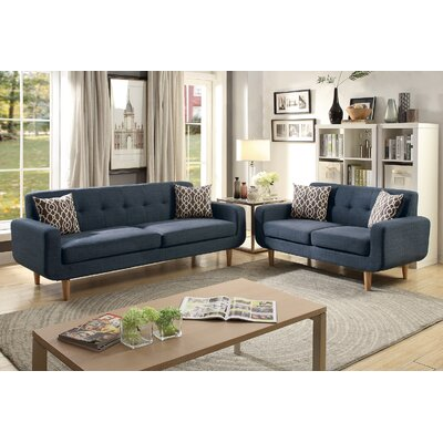 Venters Dorris Fabric 2 Piece Living Room Set Upholstery: Dark Blue