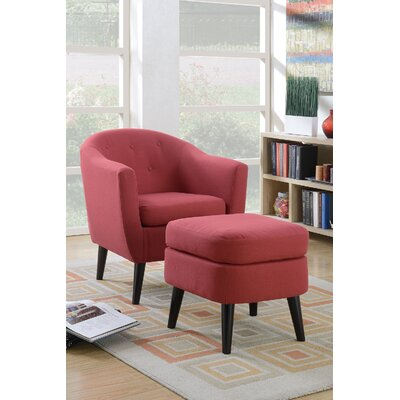Venuti Barrel Chair and Ottoman Upholstery: Red