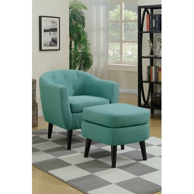 Venuti Barrel Chair and Ottoman Upholstery: Light Blue