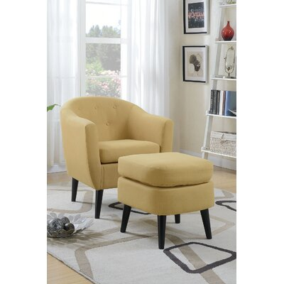 Venuti Barrel Chair and Ottoman Upholstery: Citrus