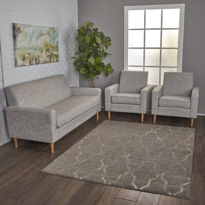 Wachtel 3 Piece Living Room Set Upholstery: Light Gray