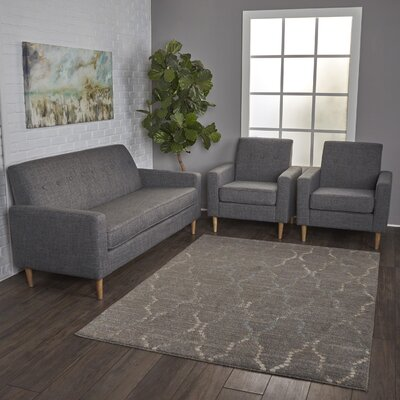 Wachtel 3 Piece Living Room Set Upholstery: Gray