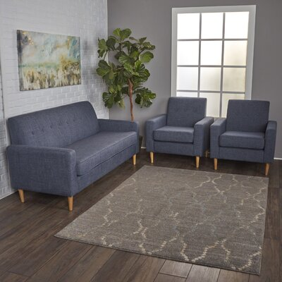 Wachtel 3 Piece Living Room Set Upholstery: Dark Blue