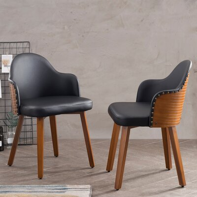 Bamboo Side Chair Upholstery: Black