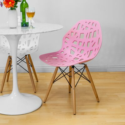 Josiah Stencil Cut Out Eiffel Dining Chair Color: Pink