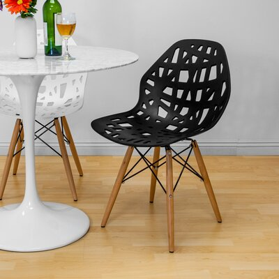 Josiah Stencil Cut Out Eiffel Dining Chair Color: Black