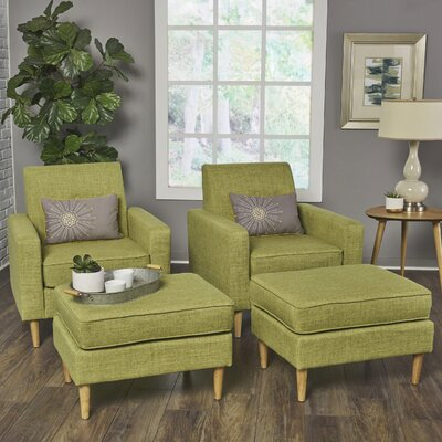 Wachtel Armchair and Ottoman Set Upholstery: Green