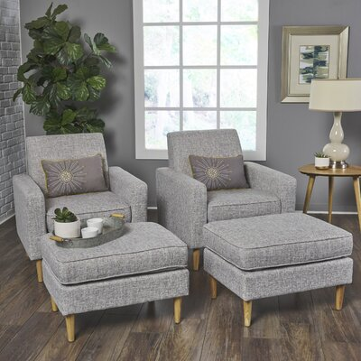 Wachtel Armchair and Ottoman Set Upholstery: Light Gray