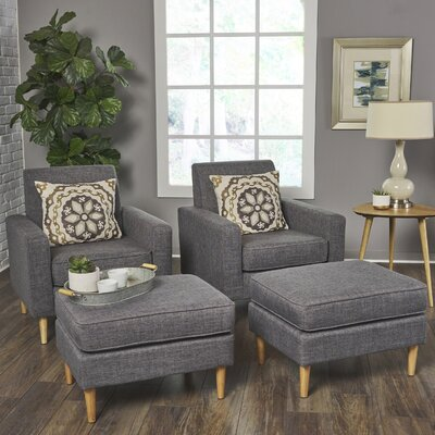 Wachtel Armchair and Ottoman Set Upholstery: Gray