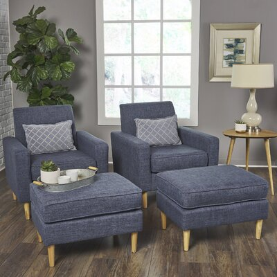 Wachtel Armchair and Ottoman Set Upholstery: Blue