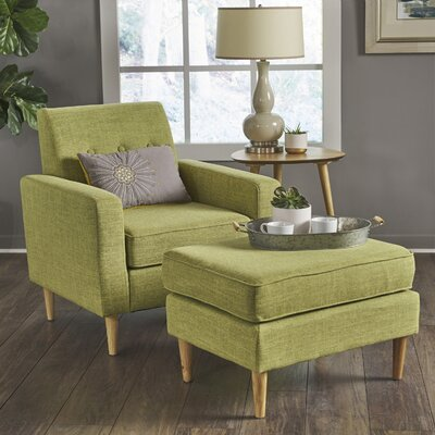 Wachtel Mid Century Club Chair and Ottoman Upholstery: Green