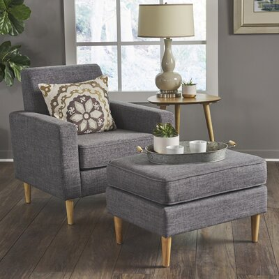 Wachtel Mid Century Club Chair and Ottoman Upholstery: Gray
