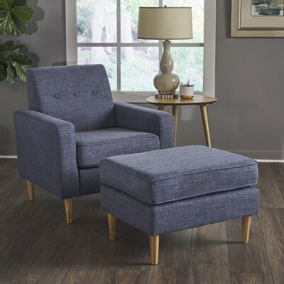 Wachtel Mid Century Club Chair and Ottoman Upholstery: Dark Blue