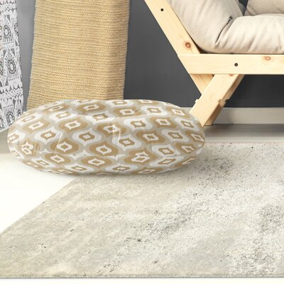 Underhill Round Floor Pillow Size: 23 H x 23 W x 9.5 D, Color: Tan/ Ivory/ Gold