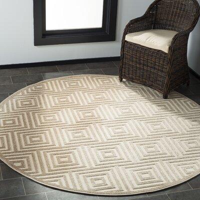 Candor Beige Indoor/Outdoor Area Rug Rug Size: Round 67