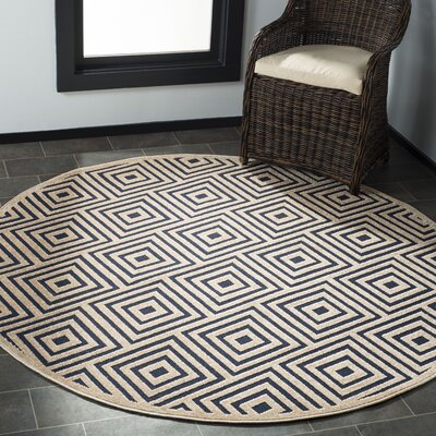 Candor Beige/Blue Indoor/Outdoor Area Rug Rug Size: Round 67
