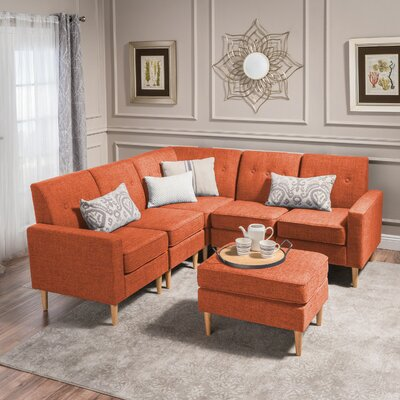 Weisser Mid Century Sectional with Ottoman Upholstery: Orange