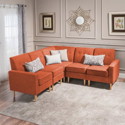 Weisser Mid Century Sectional Upholstery: Orange