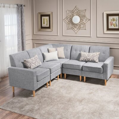 Weisser Mid Century Sectional Upholstery: Light Gray