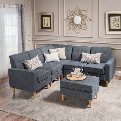 Weisser Mid Century Sectional with Ottoman Upholstery: Gray