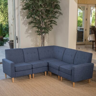 Weisser Mid Century Sectional Upholstery: Dark Blue
