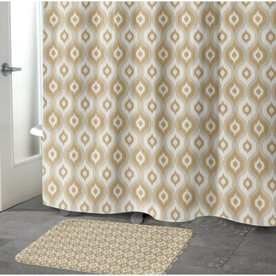 Underhill Rectangle Memory Foam Bath Rug Size: 17 W x 24 L, Color: Tan/ Ivory/ Gold