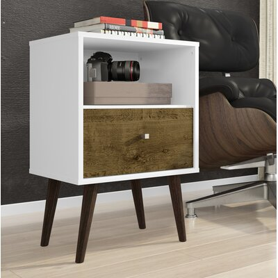 Amory Mid Century Modern 1 Drawer Nightstand Color: White/Rustic Brown