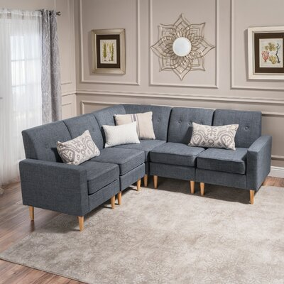 Weisser Mid Century Sectional Upholstery: Gray