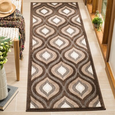 Candor Light Brown/Dark Brown Area Rug Rug Size: Runner 23 x 8