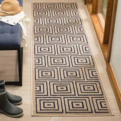 Candor Beige/Blue Indoor/Outdoor Area Rug Rug Size: Runner 23 x 8