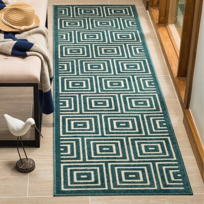 Candor Blue Geometric Outdoor Area Rug Rug Size: Runner 23 x 8