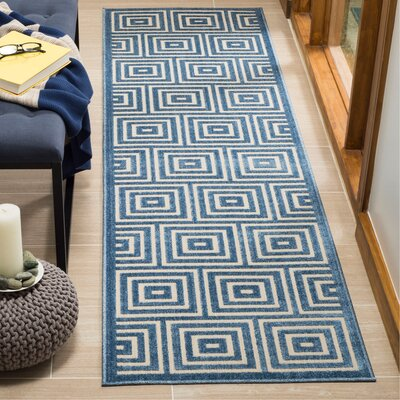 Candor Contemporary Blue Outdoor Area Rug Rug Size: Runner 23 x 8