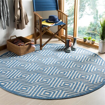Candor Contemporary Blue Outdoor Area Rug Rug Size: Round 67