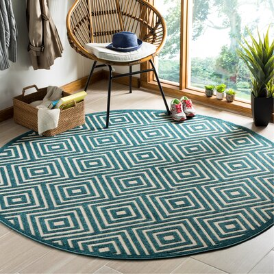 Candor Blue Geometric Outdoor Area Rug Rug Size: Round 67