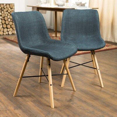 Vanwinkle Upholstered Linen Side Chair Upholstery: Blue