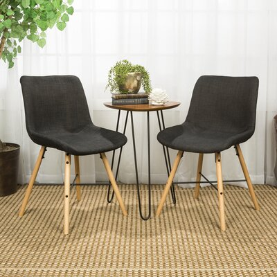 Vanwinkle Upholstered Linen Side Chair Upholstery: Charcoal