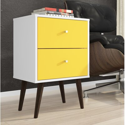 Lewis Mid Century Modern 2 Drawer Nightstand Color: White/Yellow