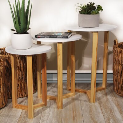 Coulombe Nested Round 3 Piece Coffee Table Set