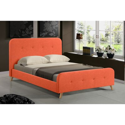 Newport Mid Century Upholstered Platform Bed Size: Full, Color: Orange
