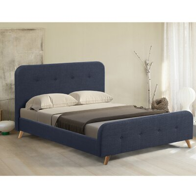 Newport Mid Century Upholstered Platform Bed Size: King, Color: Blue