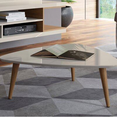 Lemington Triangle Coffee Table with Splayed Legs Color: White Gloss